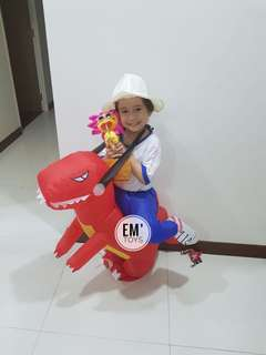 🚚 ⭐️ In Stock *Party Wear #Costume* Inflatable Dinosaur Costume Suitable for 1-5 year old, high 70-120cm Available in:Green, Red  Price $35 Pm 📬 Inbox, 📲whatsapp 83455550