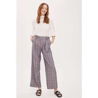 TOPSHOP Check Belted Wide Leg Trousers