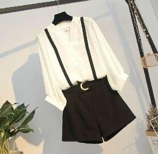 79537 #大碼雪纺襯衫+顯瘦短褲 兩件套  尺码: 5XL 4XL 3XL 2XL XL   颜色: 圖片色