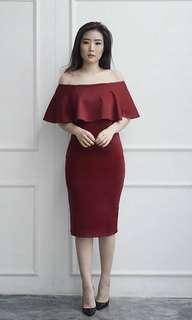 maroon red dress sabrina