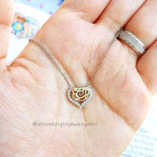 Flower Heart Necklace (Silver Tone)