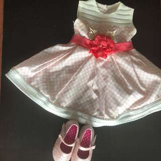 Toddler's white and pink dress