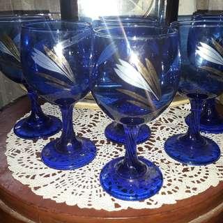 Jual Gelas Sloky Kristal Cantik warna Biru bermotief