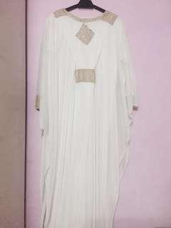 Kaftan Dress [White & Gold]