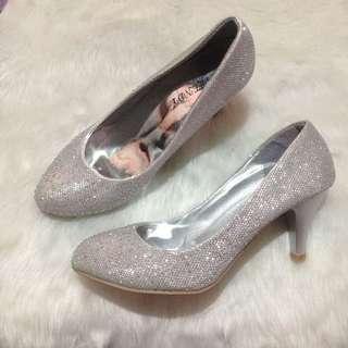 Silver Glitter Stiletto Heels