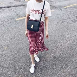 🚚 紅格紋魚尾裙