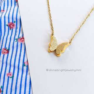 Butterfly Necklace (Gold Tone)