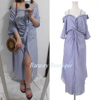 🚚 Ruway. 露肩扭結直條長洋裝 渡假風洋裝 Amissa mercci22 Miluku