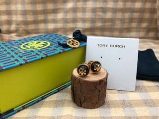 Tory Burch黑色圓形耳環