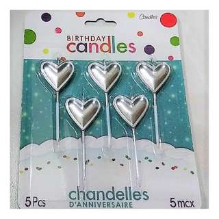 Silver Birthday Candles - Hearts