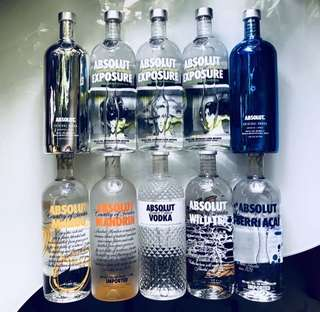 Absolut Vodka Ltd Edn, Assorted Flavours & Paraphernalia
