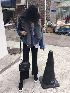 二手 韓國 正韓黑色喇叭西裝褲 3:01