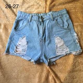 Highwaist Denim Maong Tattered Ripped Shorts 8