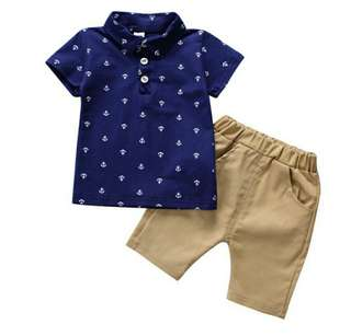 Anchor POLO Shirt With Brown Short Pants (1209)