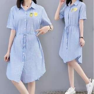 79471 #新款大尺碼百搭细條襯衫裙  尺码: 5XL 4XL 3XL 2XL XL   颜色: 细條纹