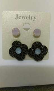 🚚 耳針兩對花與珠