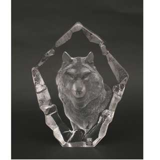 Mats Jonasson Full Lead Crystal Wolf Head