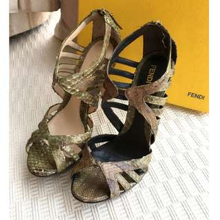 Fendi  python leather heel sandals shoes  @@Size 37 @@Made in Italy  ....