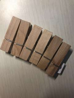 Wooden photo pegs
