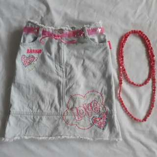 6 - 7 girls Barbie denim skirt with beaded necklace