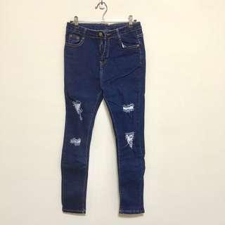 🚚 全新/刷破牛仔褲 深藍