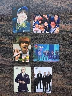 Yes card 男團 BTS Jin  NCT 127  ZE:A 烔植 BTOB Peniel  金簽 $5一張 (所有yes card最少買四張)