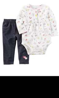 BN 12M/24M Carter's baby girl's 2 pieces bodysuits  pant set