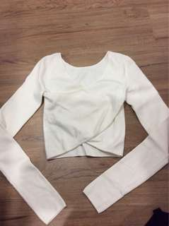 H&M long sleeve white cross body wrap top