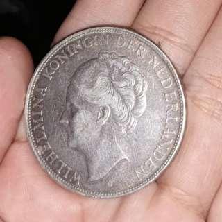 Uang Koin Kuno Wilhelmina . tahun 1937