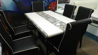 DINING SET MARBLE 1+6