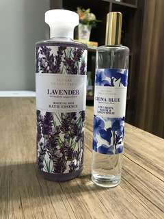 Marks & Spencer set of 2 - Lavender Bath Essence + China Blue 3 in 1 Body, Room & Linen Spray