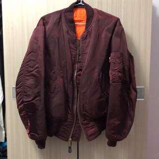 🚚 Alpha 超稀有酒紅色 短版 雙面穿 飛行夾克 ma1