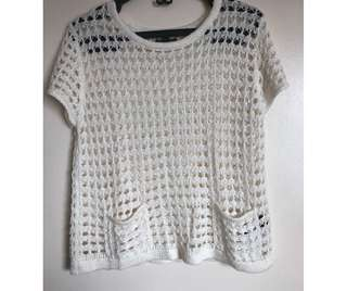 F21 Knitted Top (white)