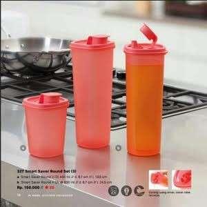 3pcs Tupperware smart saver round botol minyak, kecap, air