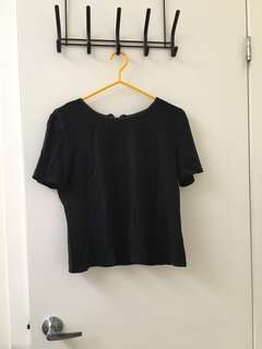 Forever 21 black top with leather trim large