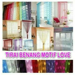 Tirai kamar or jendela motif love