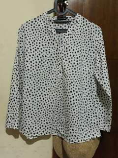 Blouse White Black Dot