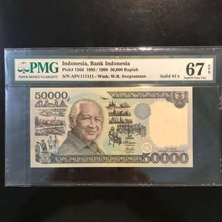 ⭐️ Solid 1s With Top Grade! ⭐️ 1995 Indonesia 🇮🇩 Commemorative 50000 Rupiah Soehato, APV 111111 Solid 1 Gem 💎UNC PMG 67 EPQ . Top Grade, Only 21 Pcs Graded 67 EPQ & Above. Pls Refer To Pic 3! ⭐️
