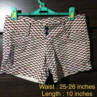 Red pattern shorts