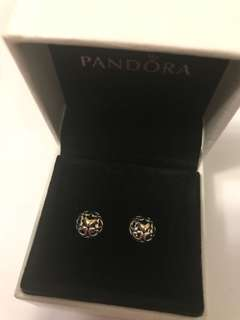 Pandora Earrings with 14k gold heart