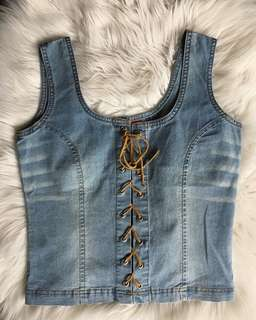 Tie up denim top