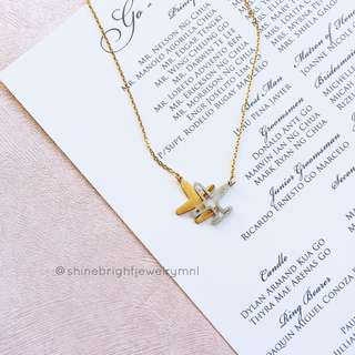Airplane Necklace (Gold Tone)