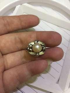 k 白金 珍珠戒指(11圈口,只是低金)不议价