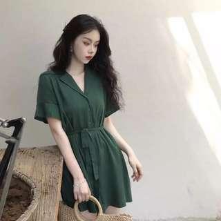 🚚 夏2018新款韓版chic復古少女心溫柔仙女裙收腰顯瘦連衣裙預購