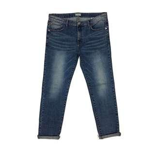 Slower Slim Fit Low Destroy Jeans in Blue Wash