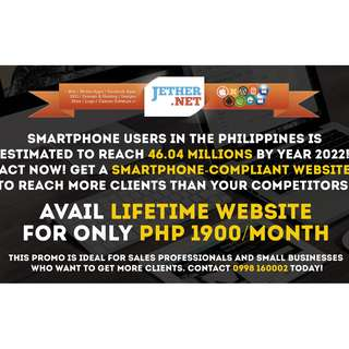LIFETIME WEBSITE for only Php 1900/month