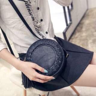 Y2265 Black Boho Retro Round Sling Bag