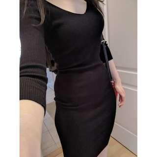 Midi-length Black Dress