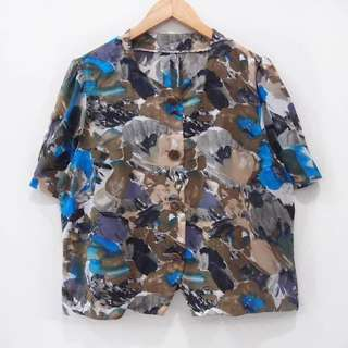 Kemeja Blouse Motif vintage Flower Abstract