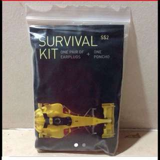 1 pair of earplugs + one poncho ( Survival Kit ) - Brand New